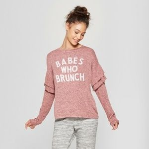 BABES WHO BRUNCH Cozy Sweatshirt in Rose